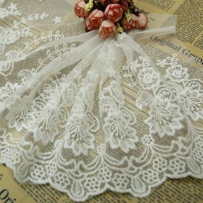 23 cm * 1yard White Delicate embroidered flower tulle lace trim Sewing DIY H015