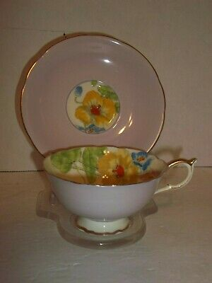 Vintage Engand Paragon Lavender Yellow Pink Blue HP Floral Gold Tea Cup & Saucer