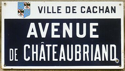 French enamel steel street sign road plaque plate ave Chateaubriand Paris suburb