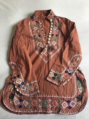 Vintage boho Hippy Tunic top Shirt Indian Cotton  UK 8/10 small Embroidery