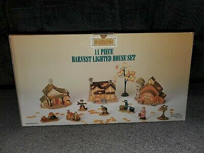 Harvest Bounty 11 Piece Lighted House Set Thanksgiving Fall Holiday Fall Autumn