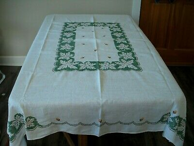 Vintage Embroidered Tablecloth Fall Autumn Thanksgiving Leaves Acorns 58x72 A+