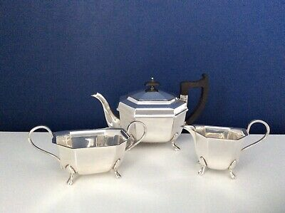 Fine Quality Edwardian Art Deco Footed Silver Plated 3 Piece Tea Set EPNS C1920