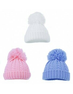 Baby Boys Girls Hat Pom Pom Winter Cable Knit Knitted. Hats Nb-12 Months