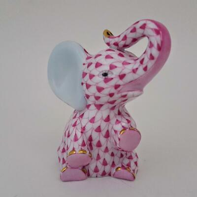 Herend Porcelain Pink Fishnet Hand Painted Baby Elephant Calf Figurine