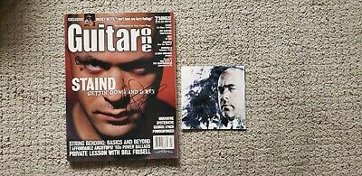 Staind Aaron lewis signed guitar one magazine  and cd sleeve no cd