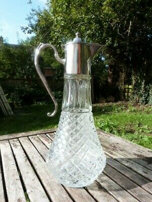 Lovely Vintage English Silver Plate & Glass Claret Jug.