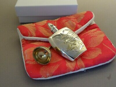 Vintage Japan 950 Sterling Silver & Gold Japanese Perfume Bottle Funnel & Pouch