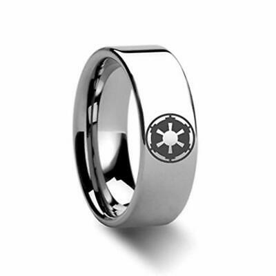 Thorsten Spinning Star Wars Tie Fighter X-Wing Design Tungsten Carbide Spinner 8mm Wide Wedding Band Personalized from Roy Rose Jewelry