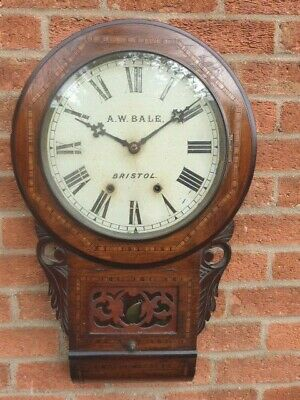 Lovely Antique Inlaid Wooden Chiming Pendulum Wall Clock By A.w. Bale Bristol.