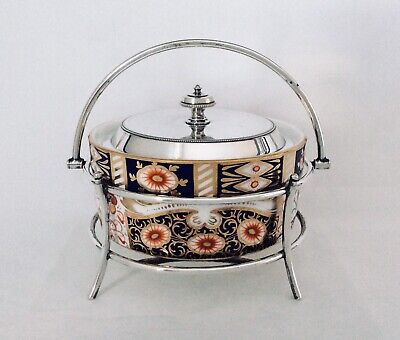 19th Century IMARI  & Footed Silver Plated Butter Dish JAMES DIXON & SONS C1890