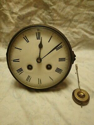 Old Japy Freres Clock Movement With Glass And Pendulum For Spares Or Repairs