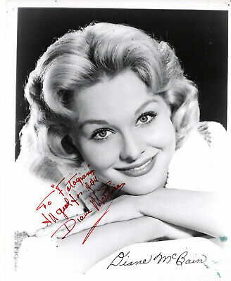 TV & MOVIE ACTRESS DIANE McBAIN ,RARE SIGNED VINTAGE STUDIO PHOTO.