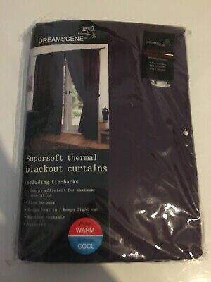 DREAMSCENE Supersoft Thermal Eyelet Blackout curtains with tiebacks 66x54 Inch