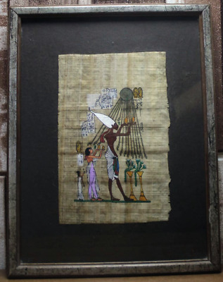 Framed egyptian Painting Hand Painted on Papyrus  Before the Throne of the King