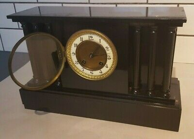 "Friedrich Mauthe Schwenningen Chiming Mantle Pillar Column Clock 15"" x 5"" x 9.5"""