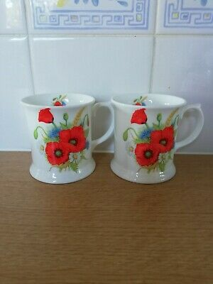 Set Of 4 Baileys Poppy Fine Bone China Mugs Cups Beakers