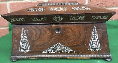 Quality Antique Victorian Rosewood Mother Of Pearl Inlaid Double Tea Caddy Box