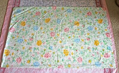 Vintage Floral Pillowcase Pink Green Blue Standard Bedding Linens Shabby Chic