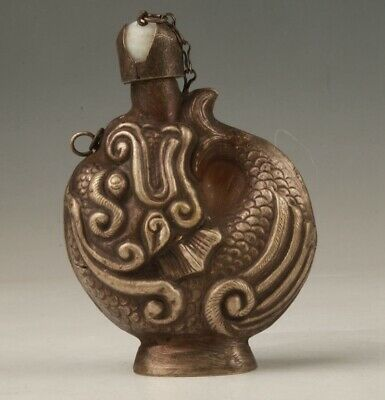 Precious China Copper Hand Carving Dragon Snuff Bottle Collection Old