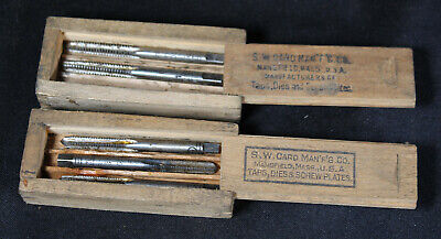 2 Antique Dovetail Wood Boxes of SW Card Taps