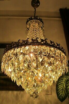Antique Vintage.French Basket Style Crystal Chandelier Lamp Light 1940's.16 in