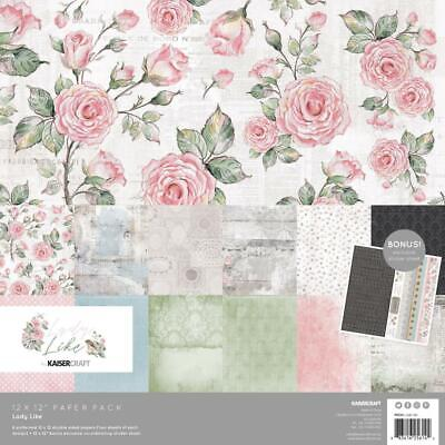 "Kaisercraft Lady Like Paper Pack with Bonus Sticker Sheet  12x12"", 13pc Pack"