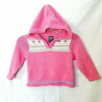 Oshkosh Girls 3T Pink Floral Knit Hooded Sweater