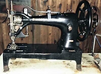 c1884 RARE GIANT ANTIQUE INDUSTRIAL SINGER SEWING MACHINE LEATHER CANVAS SAIL !!