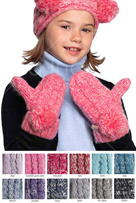 Jinscloset C.C 3-9 years Children Girl Boy Kids Fuzzy Lining Knit Solid Gloves