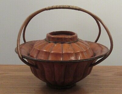 Antique signed Chinese? lidded staved wood basket/bowl gourd/flower shape handle