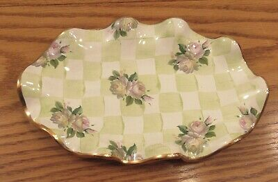 MacKenzie-Childs Sweet Pea honeymoon/green check gold ruffle edge tray 9.5x6""