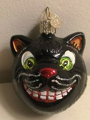 Rare Htf Old World Christmas Owc Halloween Black Grinning Cat Ornament Charm Tag