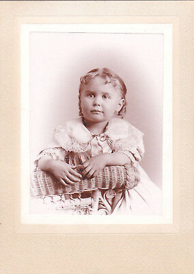 Beautiful Little Girl W/ Curly Blond Bangs & Frilly Dress - Wicker Chair - Cc