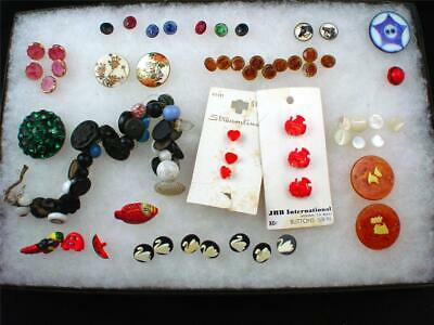 Large Lot of Vintage Buttons Glass & Novelty