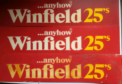 VINTAGE 70's Winfield Tobacciana ...anyhow*have a Winfield 25s in store signs