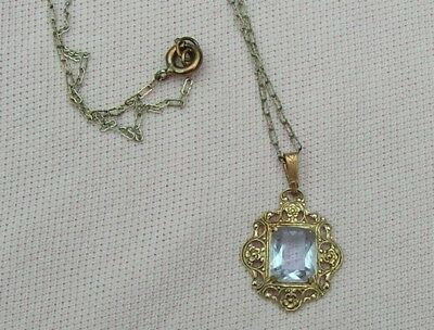Old Vintage Antique Art Deco PaperClip Chain Filigree Open Back Crystal Necklace
