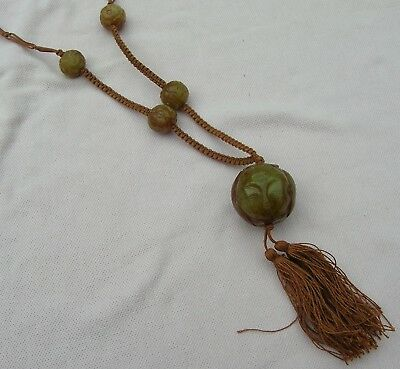 Vintage Antique Art Deco Chinese Red Green Carved 3 Face Jade Sautoir Necklace