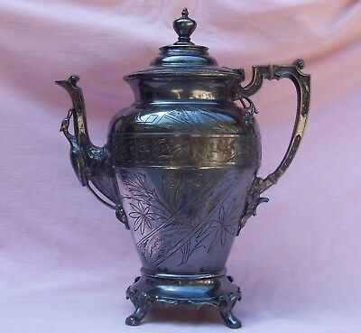 Vintage Antique Victorian Aesthetic Silver Plate Fancy Coffee Pot Figural Bird