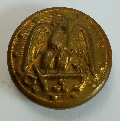 """Vintage Military Eagle Coat of Arms Metal Button 7/8"""" Unmarked"""