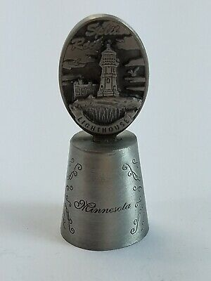 Vintage Minnesota Split Rock Lighthouse Pewter Souvenir Thimble