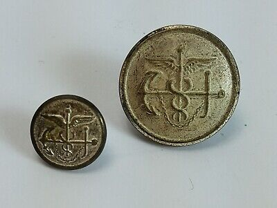 Vintage Military Medical Navy Eagle Coat of Arms Waterbury Metal Buttons