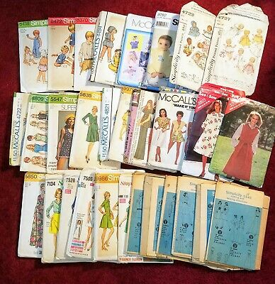 Huge Vtg Lot 29 Simplicity McCall's Sewing Patterns,Womens 70's,Childrens,Doll