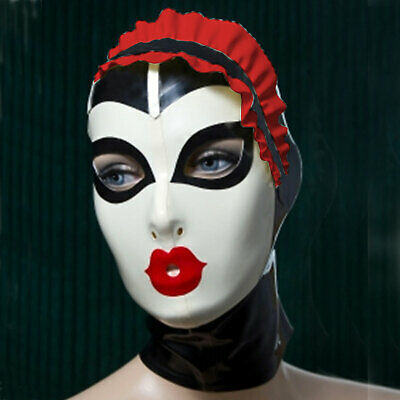 Latex Rubber Mask Maske Rot&Weiß Maid Ruffle Gummi Hood Masque Cosplay 0.4mm