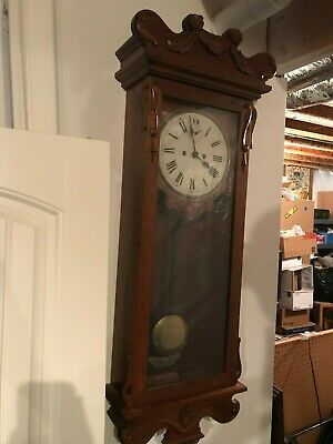 Large Old Antique Cherry 30 Day New Haven  Wall Clock W Pendulum.