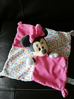 Doudou Plat Carré Souris Minnie Rose Pois Blanc Triangles Disney Nicotoy TBE