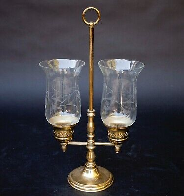 Princess House 3 Pc. Brass & Double Etched Crystal Hurricane / Candle Holder