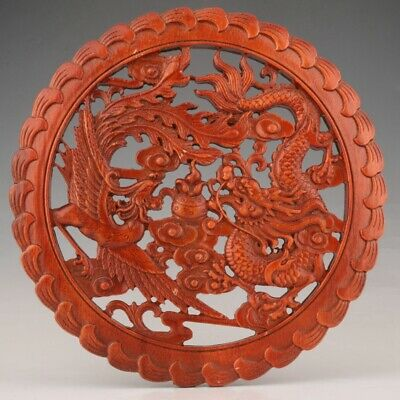 China Wood Handmade Hollow Carving Dragon Phoenix Plate Auspiciou Collection