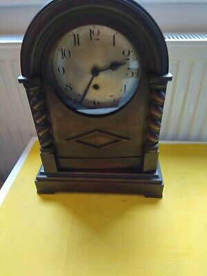 Old Wooden Mantle Clock With Key And Pendulum