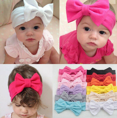 Toddler Girls Kids Baby Big Bow Hairbands Headband Stretch Turban Knot Head TPI